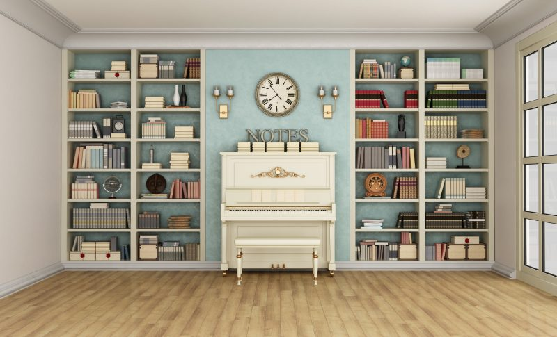 Luxury living room with large bookcase full of books and upright piano - 3D Rendering